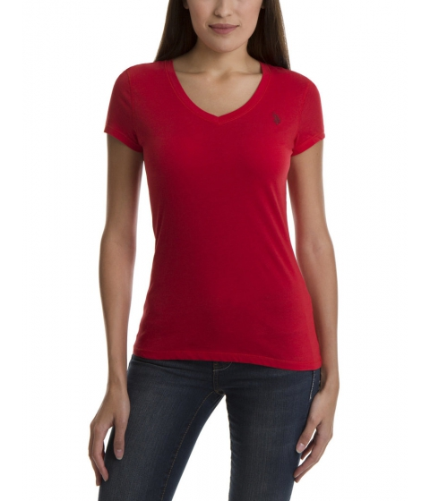 Imbracaminte Femei US Polo Assn Tonal Logo V-Neck Tee RACING RED