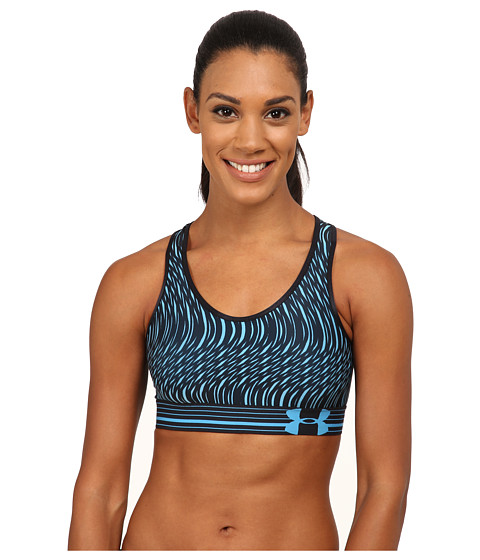 Imbracaminte Femei Under Armour UA HeatGearreg Alpha Printed Bra Jazz BlueBlackJazz BlueSwerve