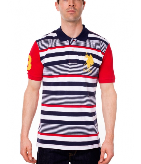 Imbracaminte Barbati US Polo Assn Stripe Polo Shirt Engine Red