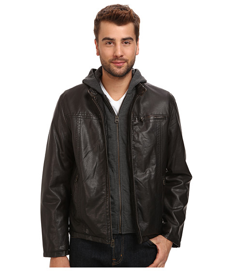 Imbracaminte Barbati Levi's Hooded Faux Leather Racer Jacket with Fleece Lining Dark Brown