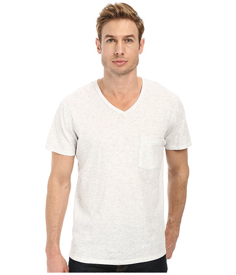 Imbracaminte Barbati 7 For All Mankind SS Raw V-Neck Tee Heather White