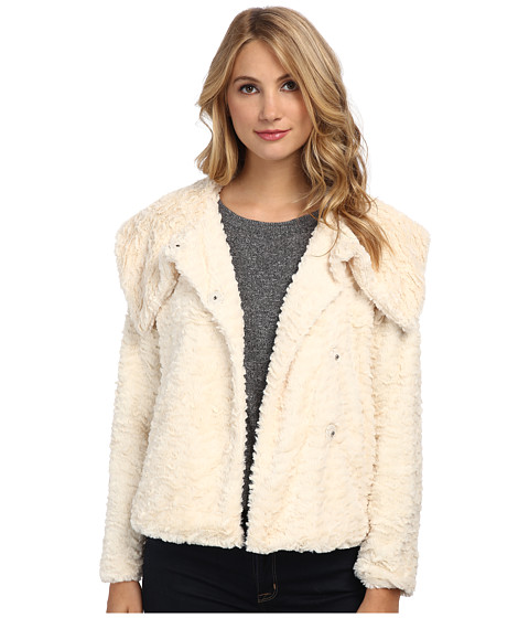 Imbracaminte Femei YUMI Faux Fur Jacket With Single Button Fastening Cream