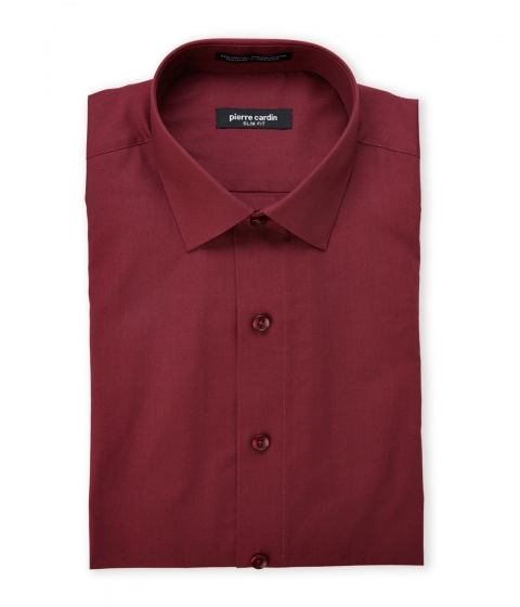 Imbracaminte Barbati Pierre Cardin Burgundy Slim Fit Dress Shirt Burgundy