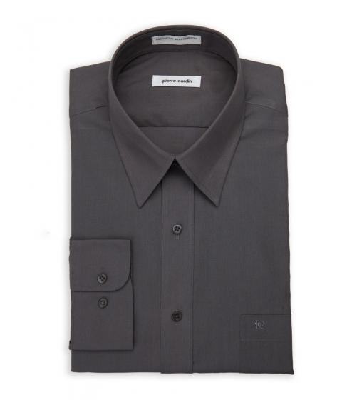 Imbracaminte Barbati Pierre Cardin Dark Grey Solid Dress Shirt Dark Grey