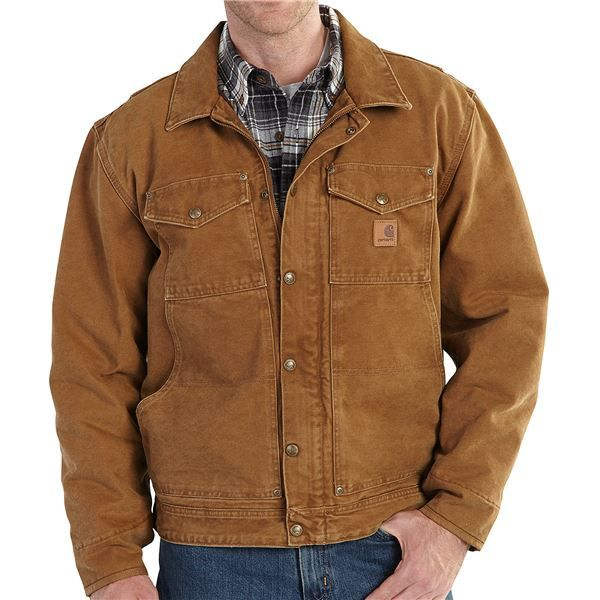 Imbracaminte Barbati Carhartt Berwick Sandstone Duck Jacket (For Big and Tall Men) CARHARTT BROWN (01)