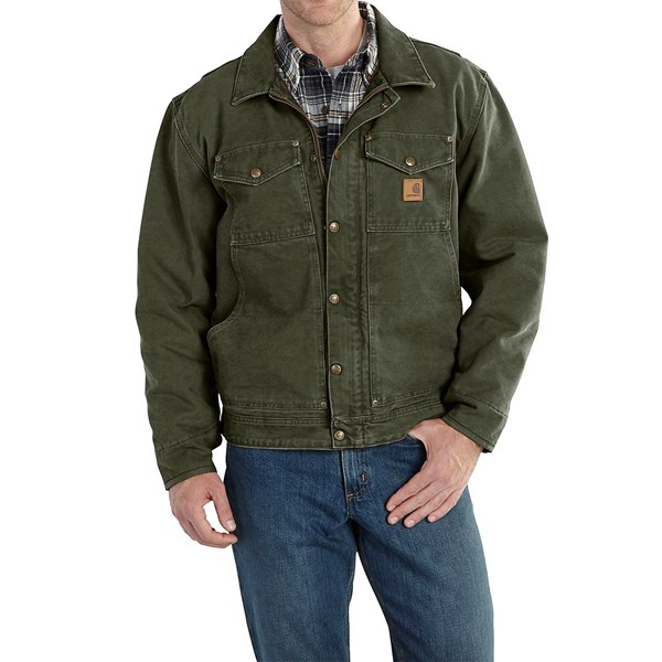 Imbracaminte Barbati Carhartt Berwick Sandstone Duck Jacket (For Big and Tall Men) MOSS (05)