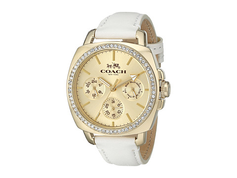Ceasuri Femei COACH Boyfriend 40MM Leather Strap Watch GoldWhite