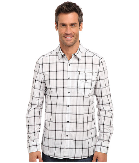 Imbracaminte Barbati Kenneth Cole LS Linear Check Zip Pocket Shirt White Combo