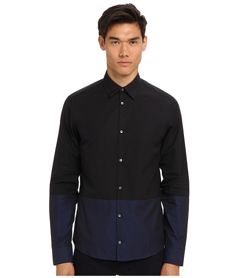 Imbracaminte Barbati Costume National Color Block Button Up Shirt BlueBlack