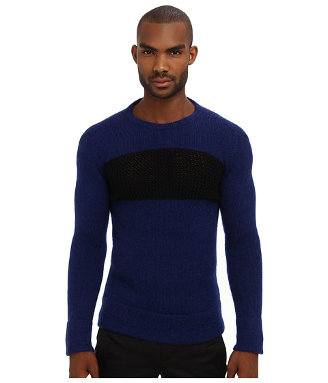 Imbracaminte Barbati Costume National Mixed Knit Crewneck Sweater Blue