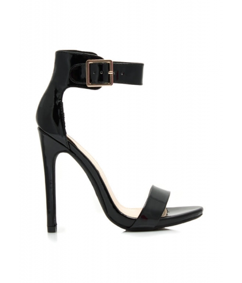 Incaltaminte Femei CheapChic Strapped On Faux Patent Heels Black