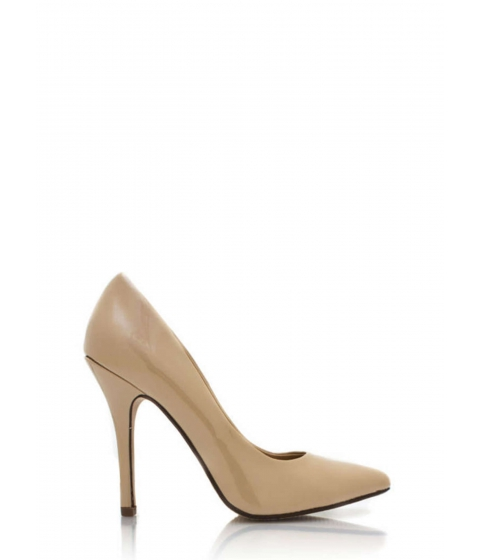 Incaltaminte Femei CheapChic So Refined Pointy Faux Patent Pumps Dkbeige