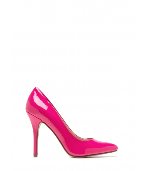 Incaltaminte Femei CheapChic So Refined Pointy Faux Patent Pumps Hotpink