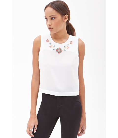 Imbracaminte Femei Forever21 Embellished Sleeveless Top White