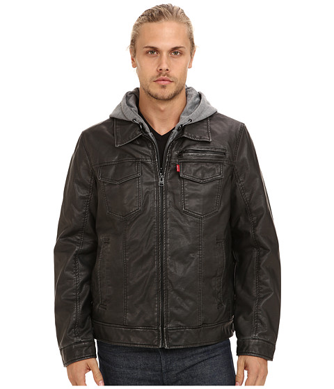 Imbracaminte Barbati Levi's Faux Leather Two-Pocket Hoodie Trucker Jacket Black