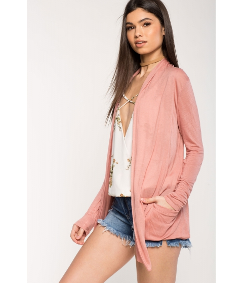 Imbracaminte Femei CheapChic Long Sleeve Open Front Cardigan Mauve