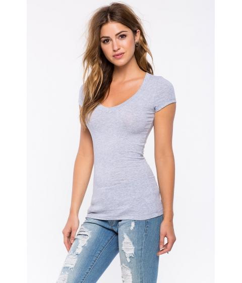 Imbracaminte Femei CheapChic Short Sleeve V Neck Tee Gray