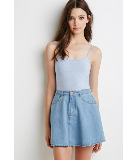 Imbracaminte Femei Forever21 Classic Cotton-Blend Cami Heather blue