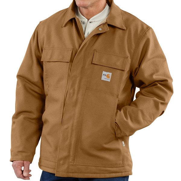 Imbracaminte Barbati Carhartt Flame Resistant Duck Traditional Coat - Quilt-Lined (For Big and Tall Men) CARHARTT BROWN (03)