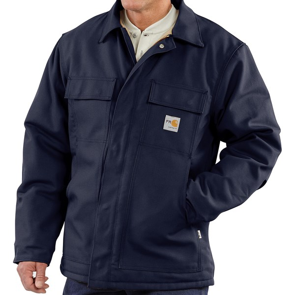 Imbracaminte Barbati Carhartt Flame Resistant Duck Traditional Coat - Quilt-Lined (For Big and Tall Men) DARK NAVY (01)