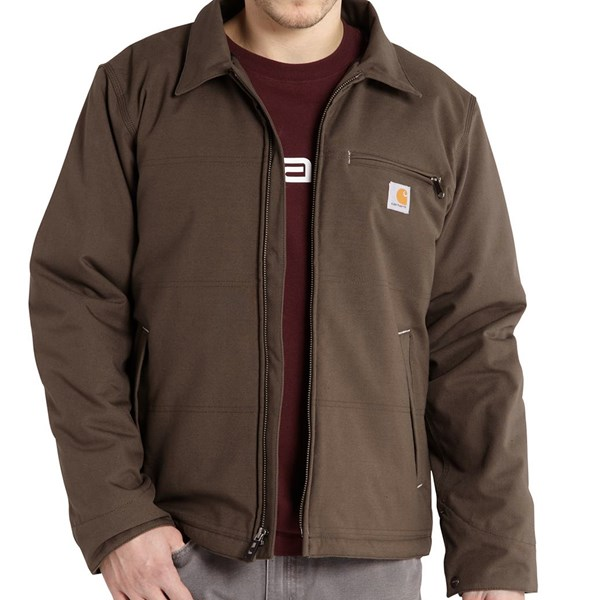 Imbracaminte Barbati Carhartt Quick Duck Livingston Hooded Jacket - Fleece Lining Insulated DARK COFFEE (02)