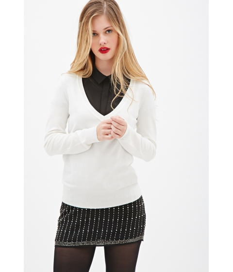 Imbracaminte Femei Forever21 Deep V-Neck Sweater Cream