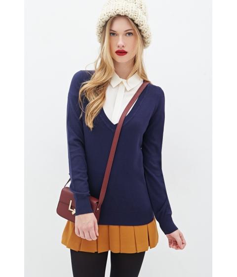 Imbracaminte Femei Forever21 Deep V-Neck Sweater Navy