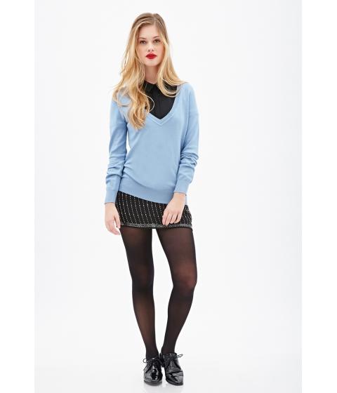 Imbracaminte Femei Forever21 Deep V-Neck Sweater Light blue