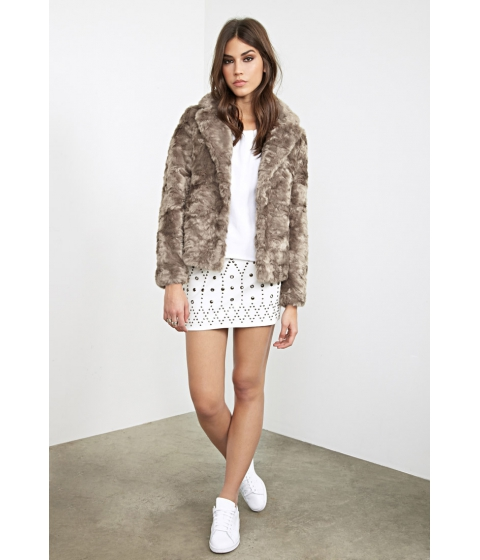 Imbracaminte Femei Forever21 Boxy Faux Fur Jacket Taupe