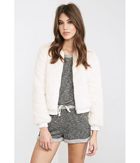 Imbracaminte Femei Forever21 Faux Fur Bomber Jacket Cream