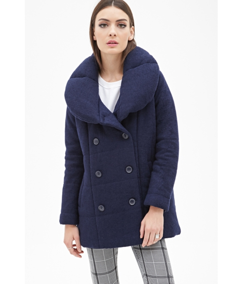 Imbracaminte Femei Forever21 Boxy Double-Breasted Coat Navy