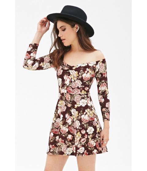 Imbracaminte Femei Forever21 Floral Print Skater Dress Burgundycream