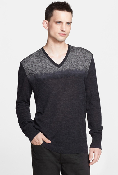 Imbracaminte Barbati John Varvatos Collection Needle Punch Wool V-Neck Sweater BLACK