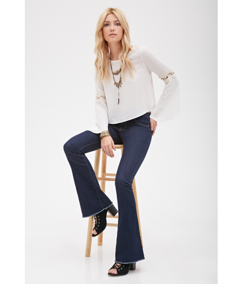 Imbracaminte Femei Forever21 Frayed Low-Rise Flare Jeans Dark denim