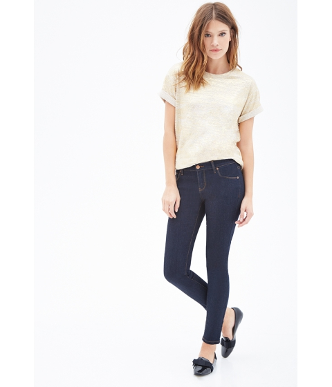 Imbracaminte Femei Forever21 Low Rise- Ankle Skinny Jeans Indigo