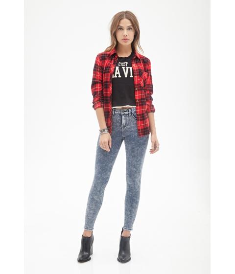 Imbracaminte Femei Forever21 Mid-Rise -Acid Wash Skinny Jeans Light denim