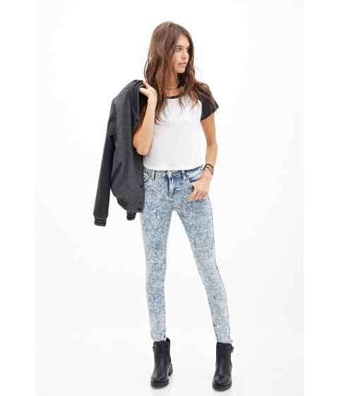 Imbracaminte Femei Forever21 Mineral Wash Skinny Jeans Light denim