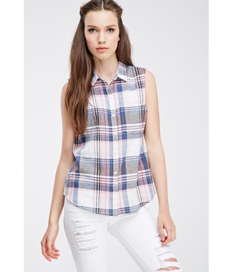 Imbracaminte Femei Forever21 Madras Plaid Buttoned Shirt Pinkcream