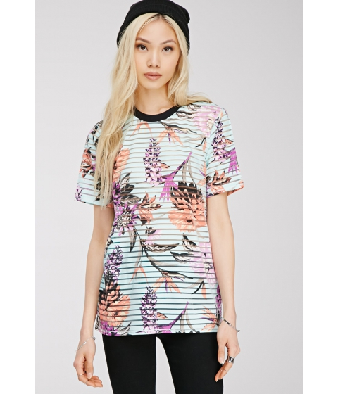 Imbracaminte Femei Forever21 Sheer-Striped Floral Print Top Light bluemulti