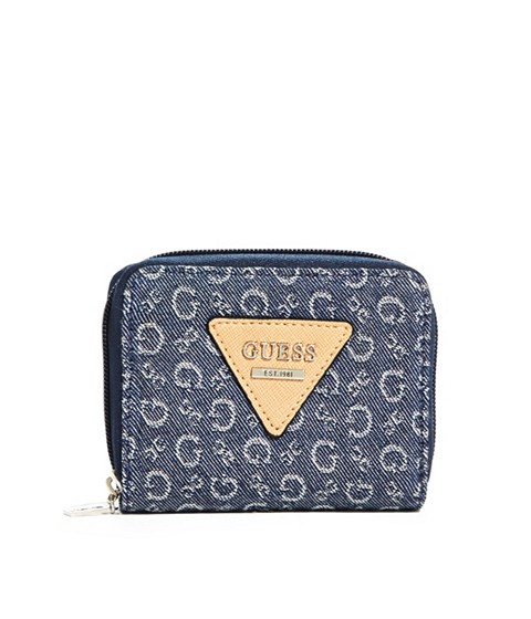Genti Femei GUESS Aislin Small Denim Zip-Around Wallet denim