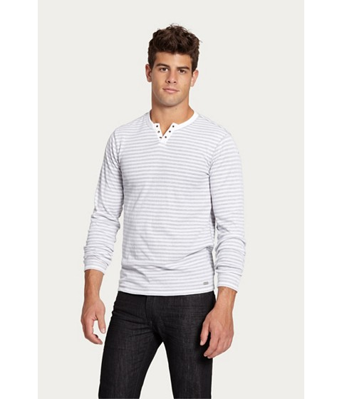 Imbracaminte Barbati GUESS Nicolay Striped Long-Sleeve Tee true white