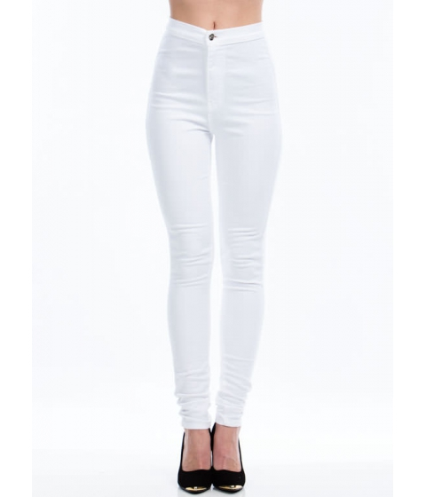 Imbracaminte Femei CheapChic So Solid High-waisted Skinny Jeans White