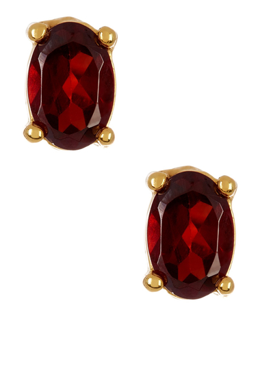 Bijuterii Femei Savvy Cie 14K Yellow Gold Plated Sterling Silver Oval Garnet Stud Earrings red-yellow
