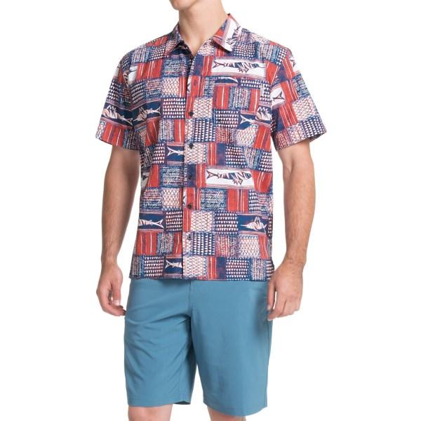 Imbracaminte Barbati Columbia Trollers Best PFG Shirt - UPF 50 Short Sleeve SUNSET RED RETRO MARLIN PRINT (41)