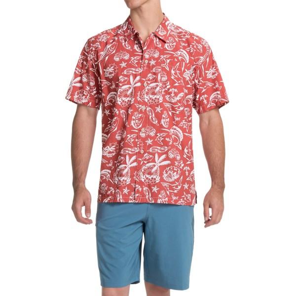 Imbracaminte Barbati Columbia Trollers Best PFG Shirt - UPF 50 Short Sleeve SUNSET RED OFFSHORE PRINT (40)