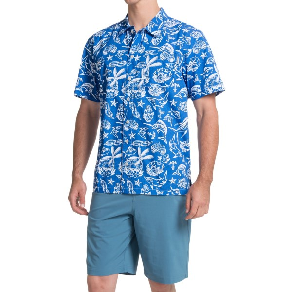 Imbracaminte Barbati Columbia Trollers Best PFG Shirt - UPF 50 Short Sleeve VIVID BLUE OFFSHORE PRINT (39)