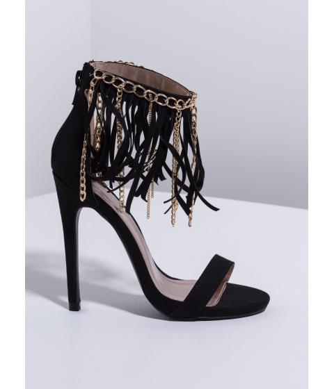 Incaltaminte Femei CheapChic Fringe Science Single-sole Heels Black