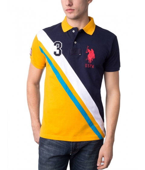 Imbracaminte Barbati US Polo Assn Slim Fit Diagonal Color Block Polo Shirt Marigold Yellow