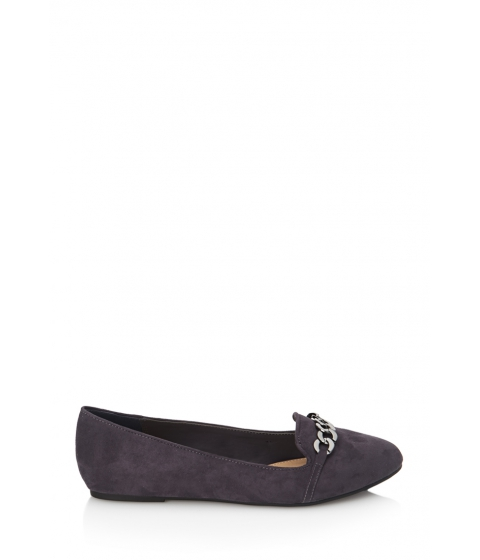 Incaltaminte Femei Forever21 Faux Suede Chain Loafers Grey
