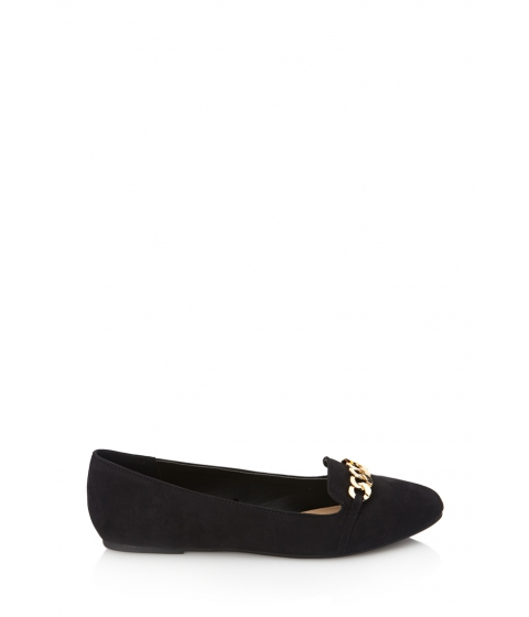 Incaltaminte Femei Forever21 Faux Suede Chain Loafers Black